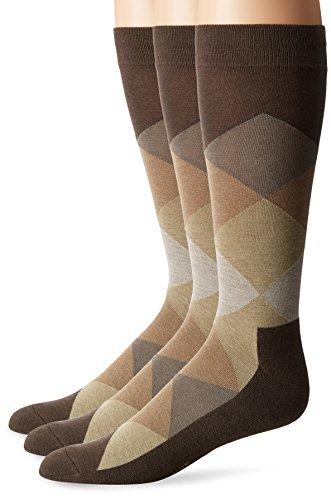Hue Men Dress - HUE Men's Assorted Crew Socks (3-Pack), Brown Argyle, Sock Size 10-12/Shoe Size 6-13