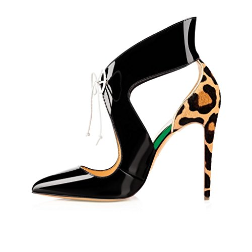 elashe Womens High Heel Sandals | Pointy Toe D'orsay Pumps | 12cm Lace Up Court shoes Black pMCI8NlX64