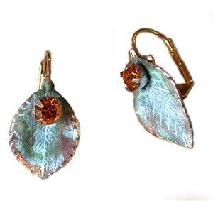 Delicate Leaf Earrings - Bright Topaz Swarovski Crystals 6