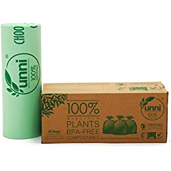 Unni ASTM6400 Certified 100% Compostable Bags, 33 Gallon, 20 Count, Heavy Duty 1.1 Milliliters Extra Thick Lawn & Leaf Biodegradable Waste Bag, US BPI & European VINCETTE Certificated
