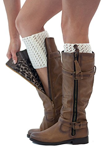 Classic Cuffs Boot Toppers 2 Button Knit by Modern Boho (Ivory) (Button Boots Knit)