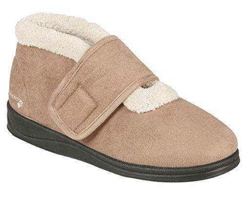 Botas Padders Zapatilla Zapatillas Las Zapato Topo Mujeres Talón Libre Ee 'silent' De Grande 30mm Camel Anchura Extra Cuerno qq0r4