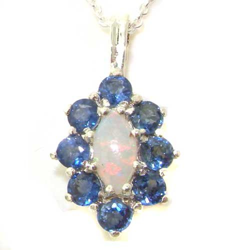 Ladies Solid 925 Sterling Silver Natural Opal & Blue Sapphire Cluster Pendant Necklace (Blue Sapphire Estate Necklace)