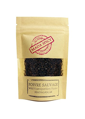 Madagascar wild black peppercorns''voatsiperifery'' 7 oz in eco-friendly zippable bag. Gourmet Quality by Mada Spicy