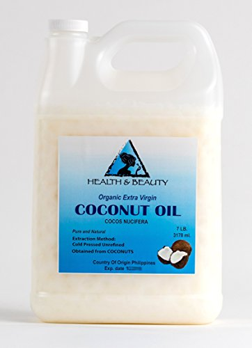 Coconut Oil Extra Virgin Organic Unrefined Cold Pressed Raw Pure 128 oz, 7 LB, 1 gal
