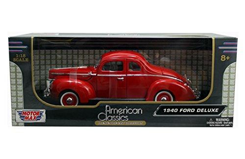 - Motor Max New 1:18 W/B MOTORMAX American Classics - RED 1940 Ford Deluxe Hard TOP Diecast Model Car