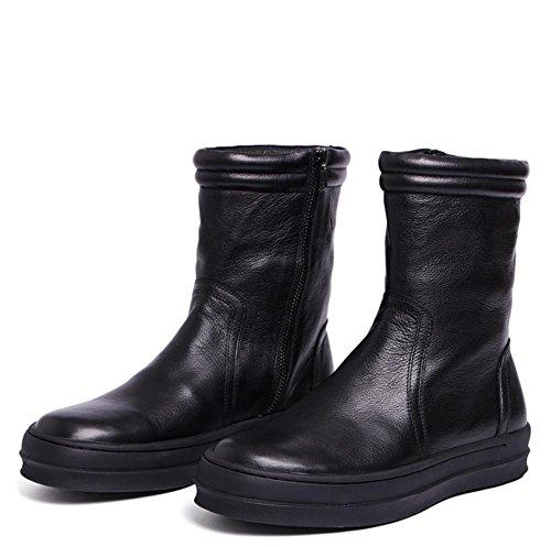 Uomini Pelle Scarpe balestruccio 43 black Cerniera BLACK Britannico Cowboy 38 Piatto XIE Autunno alto Nero Casuale Stivali Inverno Tendenza FwCqxdFvp