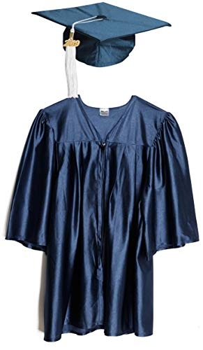 Small Navy Blue Shiny Preschool and Kindergarten Graduation Cap and Gown, Tassel and 2019 Charm