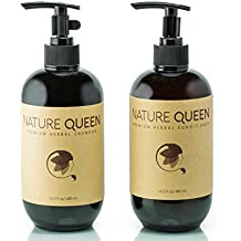 NATURE QUEEN Herbal Shampoo + Conditioner Set   Natural hair-care products that promote healthier hair growth and detoxification   Boost hair volume and get radiant shine with herbs and essential oils