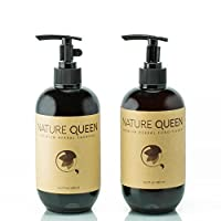 NATURE QUEEN Herbal Shampoo + Conditioner Set | Natural hair-care products that promote healthier hair growth and detoxification | Boost hair volume and get radiant shine with herbs and essential oils