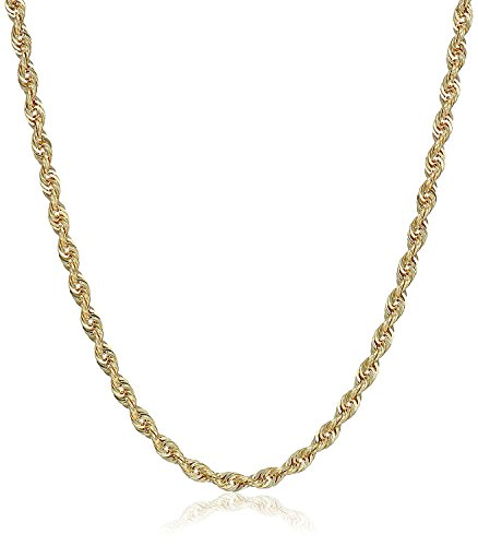 10K Gold 3.0MM Diamond Cut Rope Chain Necklace Unisex Sizes 7