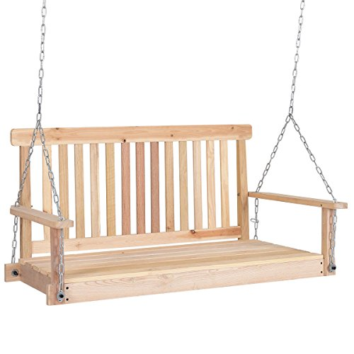 Patio Fir wood Porch Swing Hanging Seat Capacity 440 Lbs w/ 2 - Cedar Glider Back High