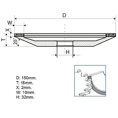 Type: 12A2-20 Dish Diamond Grinding Wheel 10mm. 32mm. 125//100 Micron = 150 Grit Dia 6 Hole 1.26 Width: 0.4 150mm.