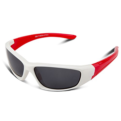 RIVBOS Rubber Kids Polarized Sunglasses With Strap Glasses for Boys Girls Baby and Children Age 3-10 RBK003 (805-white)