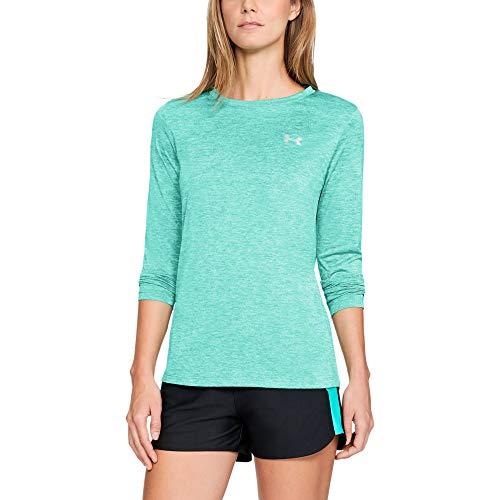 Under Armour Womens Tech Twist Crew Long-Sleeve T-Shirt, Green Malachite (349)/Metallic Silver, Large