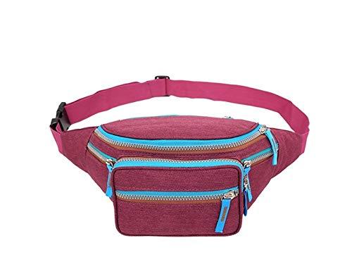 - Zhisan Outdoor Multifunction Outdoor Leisure Canvas Sports Waist Pack Running Cycling Bum Bag(Fuchsia)