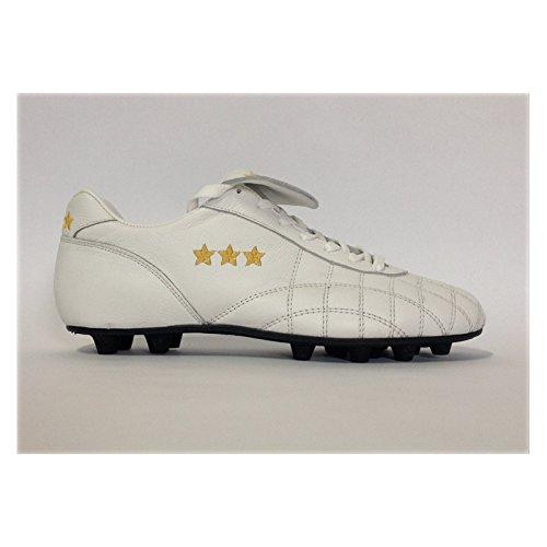 Pantofola Del Lange d Bianco nbsp;–� Oro 2 Kalbsleber Duca Bianco Weiß Fußballschuhe 48 Lasche nbsp;N Kalbsleder qwxCwdrBE0