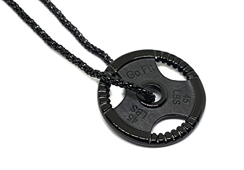 Black Coat Over 316L Stainless Steel Fitness Gym 45lbs Plate Necklace. Plate 30mm, chain 18