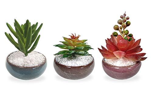Conjunto 3 Suculenta Arranjo Flor Artificial E Vaso Cerâmica
