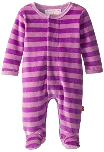 Magnificent Baby Girls' Magnetic Velour Footie, Pink/Lavender, 3 Months ()