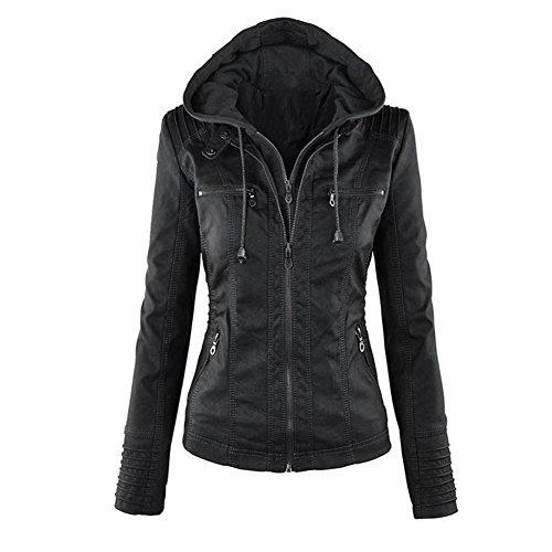 Blousons Noir Cuir Hooded Manteau Faux Mode Veste Blazer Tops Chapeau Fermeture Dtachable Motard Court Femme Minetom clair RqwpUY1A