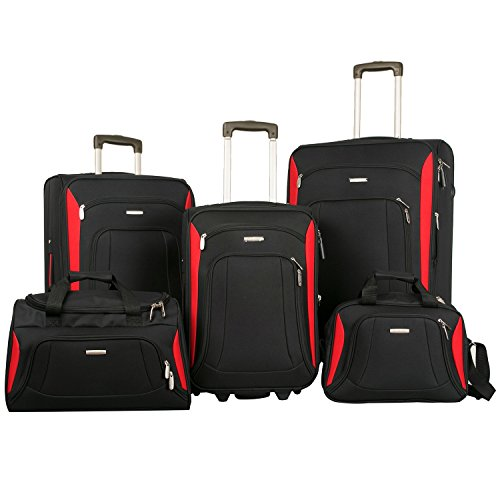 Merax Newest Softshell Deluxe Expandable Rolling Luggage Set, Black/Red, 5 Piece