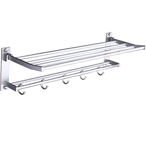 - ZHFEL Towel Bar Rack, Double fold Accessories Towel Bar Modern Storage Organizer for Toilet-Punch-48Cm(19Inch)