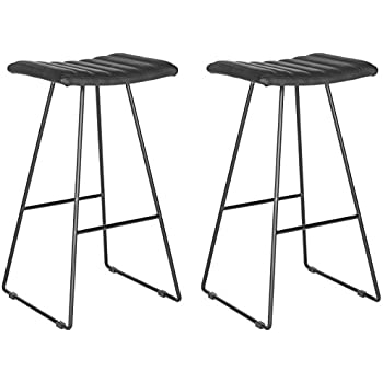 Pleasing Safavieh Home Collection Akito Mid Century Modern Black 30 Inch Bar Stool Set Of 2 Cjindustries Chair Design For Home Cjindustriesco