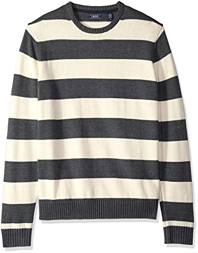 - IZOD Men's Newport Stripe 7 Gauge Crewneck Sweater, Rugby Asphalt, Large