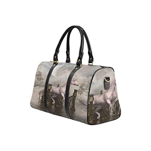 InterestPrint Waterproof Travel Bag Sports Duffel Tote Overnight Bag Fantasy Landscape With White Unicorn