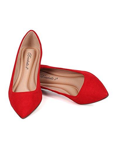 Breckelles Women Pointy Toe Ballet Flat - Casual, Office, School - Slip on Flat - GH13 by Red Faux Suede