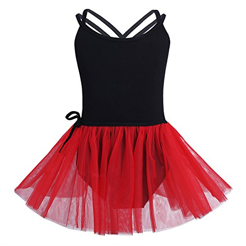 CHICTRY Girls Sleeveless Dance Ballet Leotard With Wrap-Around Skirt Outfit Clothes Black&Red 3-4