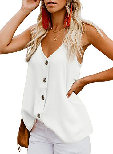 THANTH Womens Tops V Neck Button Down Strappy Cami Spaghetti Tank Tops Casual Sleeveless Loose Tops Summer Sexy Boho Shirts Soild Color Cute Tops Shirts Blouses White S