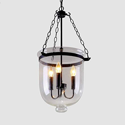 XQY Household Chandeliers, Cafe Bar Restaurant Decorated with Chandeliers, Retro Rustic Clear Glass Bell Jar Chain Ceiling Pendant Light with 3 Candle Lights Restaurant Chandelier Indoor Light,25cm