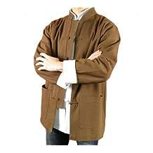 Premium Linen Brown Kung Fu Martial Arts Tai Chi Jacket Coat XS-XL Tailor Made