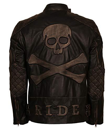 - Mens Skull Embossed Vintage Designer Italian Black Leather Jacket (4X-Large, Genuine Leather)