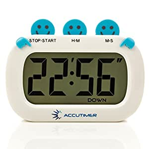 Accutimer Digital Kitchen Timer. Large Digit Electronic Display. Strong Magnetic Back and Retractable Stand. Loud Alarm Count up Countdown. (Ac21 Blue)