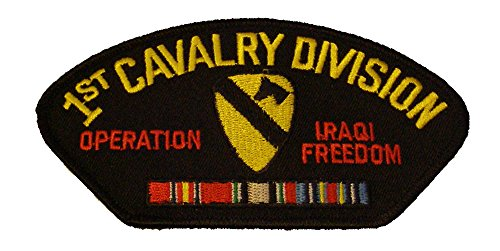 (1ST CAVALRY DIVISION OPERATION IRAQI FREEDOM with CREST and SERVICE RIBBONS PATCH - Great Color - Veteran Owned Business)