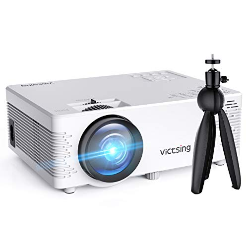 VicTsing Mini Projector, 3500 Lux Wireless Projector with Tripod, 1080P Supported, HiFi Sound. Mini Projector Compatible with TV Stick, PS4.【2019 New Tech】
