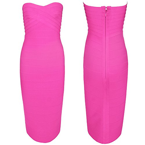 HLBandage Women's Rayon Strapless Knee Length Midi Bodycon Bandage Dress Rosa Brillante
