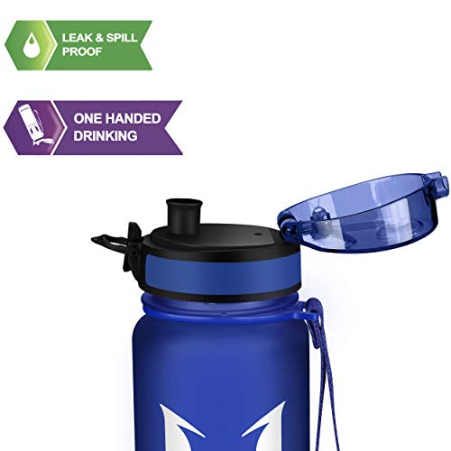 Super Sparrow Sports Water Bottle Multi-Size BPA Free & Eco-Friendly Tritan Co-Polyester Plastic - Fast Water Flow, Flip Top, Opens with 1-Click