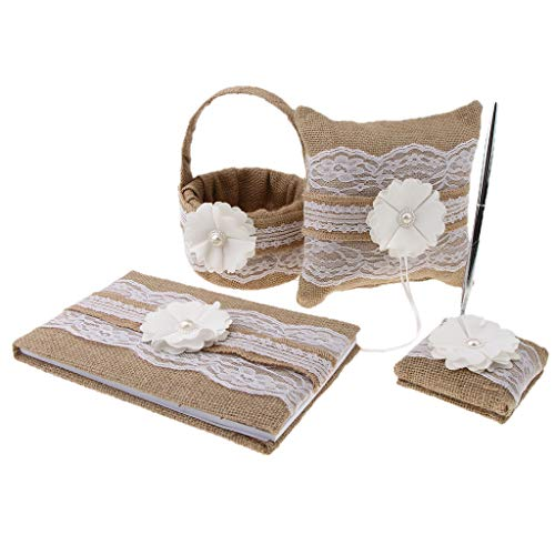 Fenteer 4 Pieces Burlap Wedding Guest Book + Pen Holder + Silver Pen + Flower Girl Basket + Ring Pillow Set