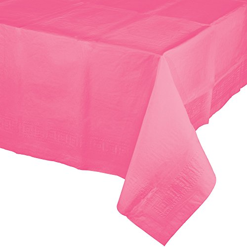 Creative Converting 6 Count Touch of Color Paper Table Covers with Poly Backing, Candy Pink ()