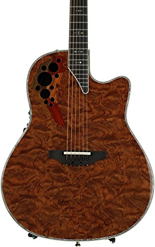 Ovation ExoticWoods Collection 6 String Electric Guitar, Right, Waterfall Bubinga ()