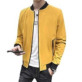 Men's Slim Fitted   Solid Zipper College Jacket