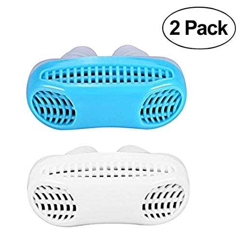 Anti Snore Devices, Mulan Snoring Solution 2 Pack Snore Stopper Nose Vents Aid Air Purifier for Women Men Snoring Noise Canceling Breathing Aid (Blue and White)