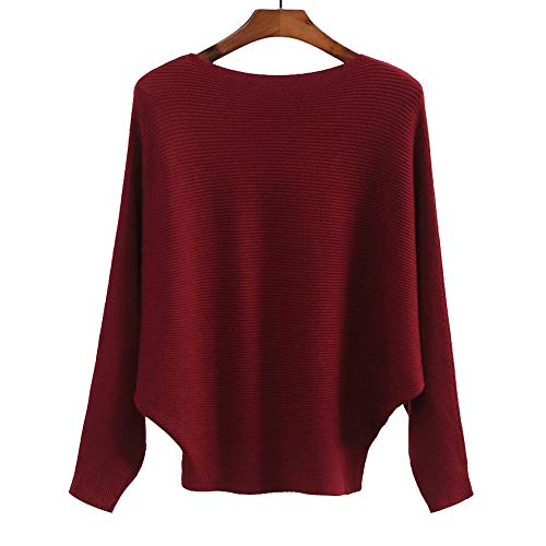 Red Sweater Cashmere - Womens Cashmere Sweaters Casual Loose Batwing Sleeve Winter Pullovers Tops Red