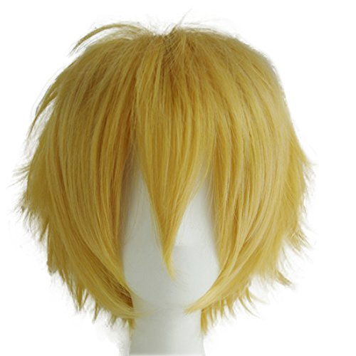 Alacos Unisex Cosplay Show Short Straight Hair Wig Women Men Cartoon Anime Con Party Dress Full Wigs Golden Wig+ Free Wig Cap