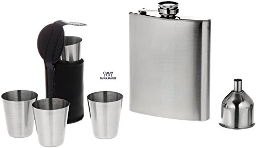 7 Piece Stainless Steel Flask Set - Bonus Whiskey Recipes - Includes Flask, Shot Glasses, Funnel , Vinyl Shot Glass Case.- Gift Set
