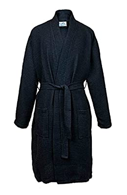 TIMSOPHIA Soft Kimono Waffle Robes for Men, Weave Knee-Length Hotel Spa Robe, 3/4 Sleeve Knee Length